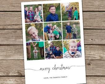 Photo Christmas Card : Simple Merry Christmas Instagram Style Script Font Custom Multi-Photo Holiday Card Printable