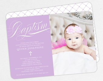 Photo Baptism Invitation, Christening Invitation, Girl Baptism Invitation, Printable Baptism Invite, Invitation PDF, Script, Purple, Quinn