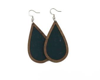 Teal Wood+Cork Teardrop Walnut Earrings, Cork Earrings, Teal Cork Earrings, Lightweight Earrings, Cork Statement Earrings, Teal Cork