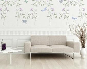 Stencil Magnolia Chinoiserie Vine Wall FREE BUTTERFLIES STENCIL Stencils For Walls