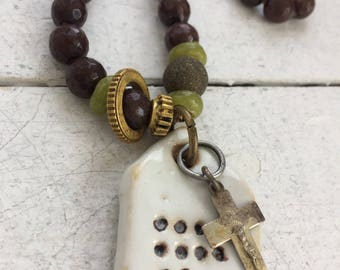 Artisan Hand-knotted Necklace with Pendant & Cross