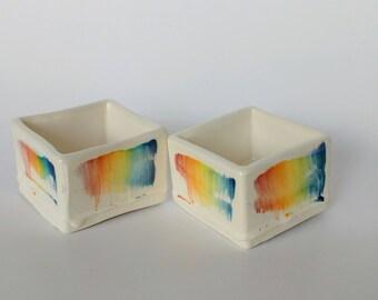 Set of two ramekins square Rainbow