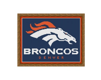 "Cross stitch pattern ""Denver Broncos"",Instant download PDF"
