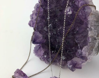 Lolly jewel - Amethyst Pendant with silver chain, Amethyst Crystal Necklace, Amethyst necklace, Gift for her