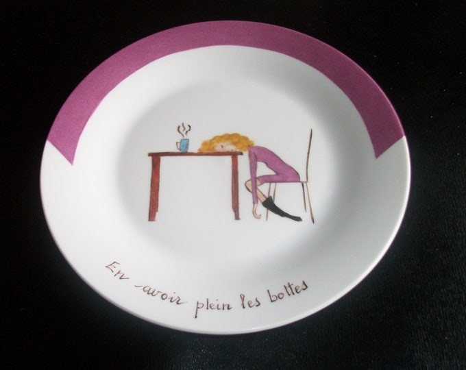 plate / cheese / funny / handpainted porcelain / theme / French phrases