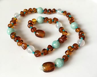 Childrens Baltic Amber & Gemstone Necklace