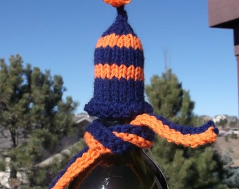 Denver Broncos Blue and Orange Wine Cozy - Hand knitted hat and scarf set