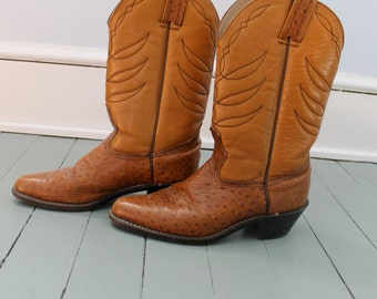 These Boots were made for Walking ..Vintage Men's Brown Leather Cowboy Boots, Size 8, Western Wear