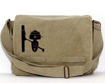 Messenger Bag, Fishing Reel, Crossbody Large Canvas Bag, Mens Messenger Bag, Laptop Bag, Gift for Guys, Fisherman, Outdoors, Hiking, Camping