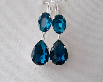 18th Century Reproduction Sapphire Drop Earrings. Blue Rhinestones, Paste Glass, Silver. Rococo, Colonial, Regency, Victorian, 19th Century.