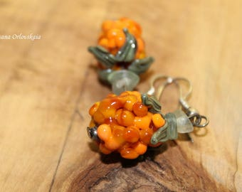 Cloudberry berry earrings