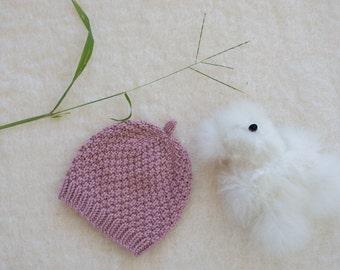 Newborn Hat Handknit in Light Pink Merino