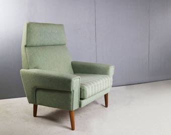 Superb Danish high back 1970's mid century lounge chair