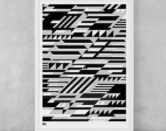 Geometric Screen Print, Faster Screen Print, Geometric Wall Art, Geometric Wall Poster
