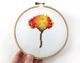 Modern Cross Stitch Kit, Beginner Crafts, Needlecraft Kit, Colorful Tree Cross Stitch, Embroidery Kit, Gift for Friend, Mom, DIY Stitch Kit