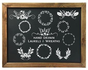 Laurel Clipart | Chalkboard Clip Art | Wreath Clip Art |  Digital Clip Art | Black & White Graphics | Hand Sketched Clip Art