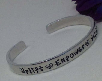 """Uplift Empower Validate, Thin 1/4"""" cuff bracelet, personalized and hand stamped"""