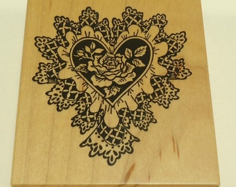 PSX G-1226 Lace Heart With Rose Center Wood Mounted Rubber Stamp by Personal Stamp Exchange