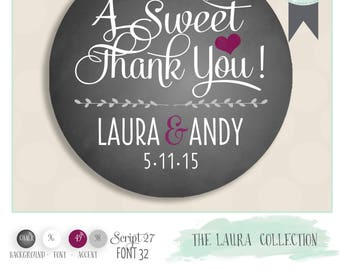 "Customized wedding favor sticker. Color of Choice. Size 2"" Round. A sweet thank you. Laura collection CHALKBOARD, plum and grey"