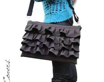 Ready-to-ship / Laptop Ruffles Bag - Messenger Bag - Shoulder Bag / Fully padded - large hidden Pocket