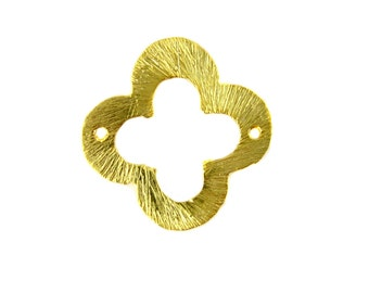 Gold Clover Connector-- 18mm Brushed Gold Vermeil Clover Connector (S35-B3-01)