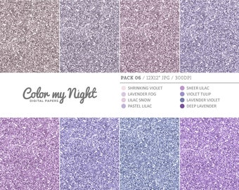80% OFF SALE Digital Paper Violet 'Pack06' Glitter Scrapbook Digital Backgrounds for Invitations, Scrapbook, Stickers, Prints, Crafts...