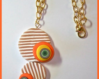 Tan and White stripe polymer clay pendant necklace Modern with touches of color handcrafted OOAK