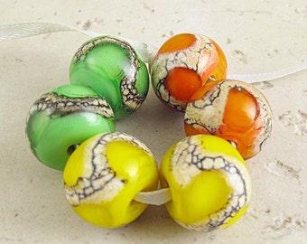 Glass Bead Set of 6 Handmade Lampwork Lemon Yellow Lime Green Tangerine Orange 14x11 mm Citrus Spash