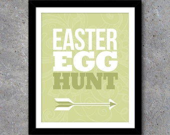 Easter Egg Hunt Sign – 8x10 Printable File – Easter Egg Hunt Poster – Easter Party Printables – Instant Download in 4 Colors!