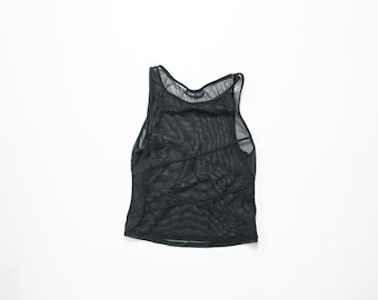 90s Sheer Mesh Tank Top / 1990s Minimalist Shirt / Black Heath Goth / Sporty Cocktail Party Evening Midriff Blouse / Normcore / Soft Grunge