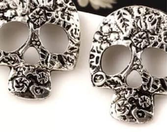 Silver Hollow Skull Stud Earrings