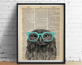 PRINTABLE Art OWL Wearing Glasses Print, Cute Animal Poster, Nursery Kids Room decor Dictionary Art Book Page Dorm Wall Art Digital Download