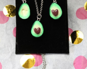 Avocado necklace and earring set