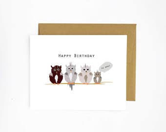 Happy Birthday to Hoo - Greeting Card