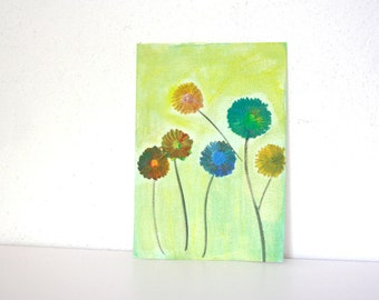 Colored Flowers acrylic painting on cardboard