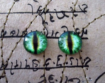 Pair of Taxidermy Glass Dragon, Cat, Cameo, Craft Eyes, Green 10mm, 14mm, 16mm