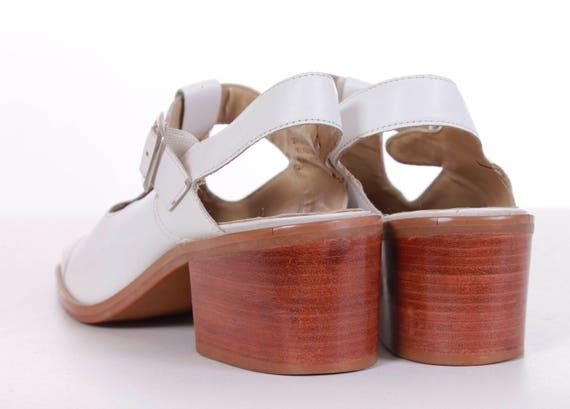Uk5 5 1990's Sandals Women's Nine Block Chunky Heel Slingback Retro Eur38 US7 Size Janes White Sandals 7 Vintage Leather Mary 5 5 West fSyRwqRTHc