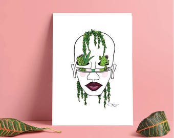 Green hang plants from face print || cacti cactus surrealism nature tropical artwork
