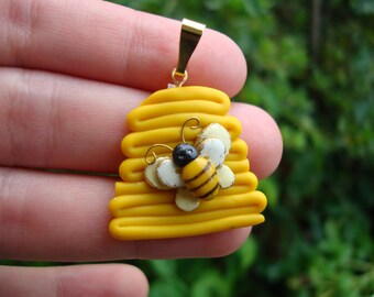 Honey Bee and Hive Pendant