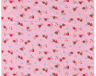 HALF YARD Yuwa - Petit Berry on Pink - Atsuko Matsuyama 826346-A - Mini Petite Red Strawberries Blue Flowers - Japanese Import Fabric