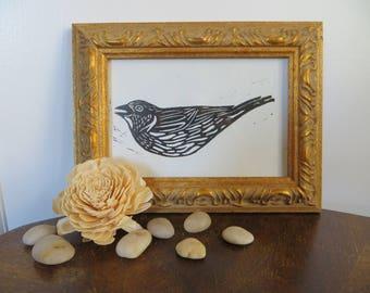 Sparrow Bird Linocut Print