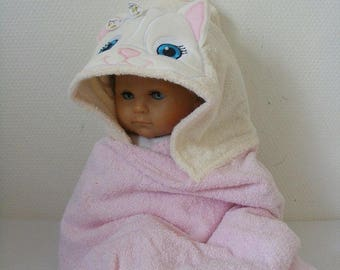 "Hooded bath towel embroidered applique ""kitten"" 0/1 year"