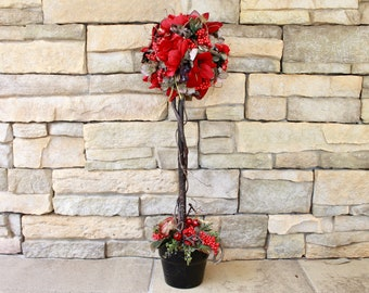 Silk Floral Arrangement - Red Topiary (S18-114)