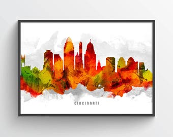 Cincinnati Skyline Poster, Cincinnati Cityscape, Cincinnati Print, Cincinnati Art, Cincinnati Decor, Home Decor, Gift Idea, USOHCI15P