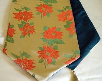 Gold Brocade Poinsettia Tablerunner, Red and Gold Brocade Tablerunner, Christmas Poinsettia Brocade Runner