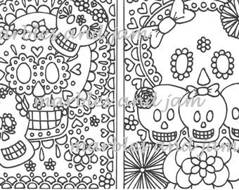 Day of the Dead sugar skull coloring book dia de los muertos