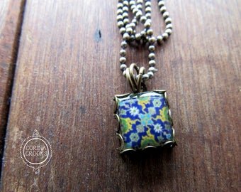 Islamic tile necklace, Islamic folk art jewelry, Charm necklace, Middle Eastern Pottery design, Pendant