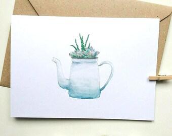 Teapot Greetings Card, Mothers Day, Friend Birthday Card, Gardener Gift, Gardener Card