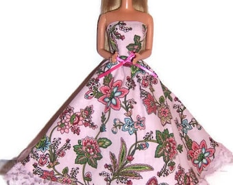 Fashion Doll Clothes-Pink Paisley Print Strapless Dress