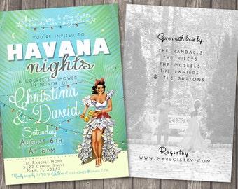 Havana Nights Shower Invitation * Cuban Havana Miami * Shower * Baby * Wedding * Bridal * Birthday * Digital, Printable File